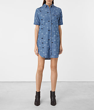 Damen Daisy Embroidered Dress (MID INDIGO BLUE)