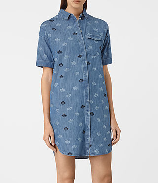 Mujer Daisy Embroidered Dress (MID INDIGO BLUE) - product_image_alt_text_3