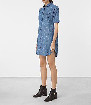 Mujer Daisy Embroidered Dress (MID INDIGO BLUE) - product_image_alt_text_4