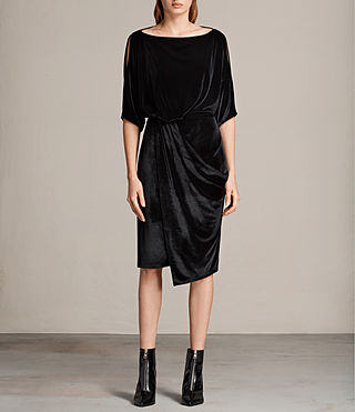 Women's Sina Velvet Dress (Black) - Image 1