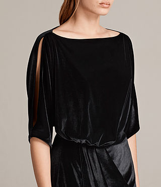 Women's Sina Velvet Dress (Black) - Image 2