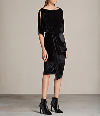 Women's Sina Velvet Dress (Black) - Image 3