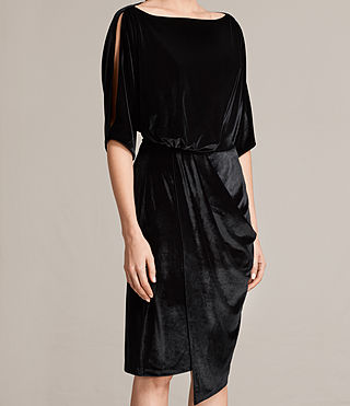 Women's Sina Velvet Dress (Black) - Image 4