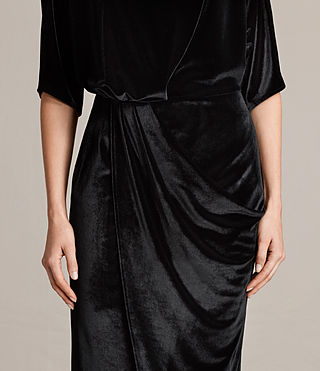 Women's Sina Velvet Dress (Black) - Image 5