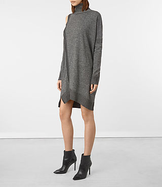 Damen Cecily Twist Dress (Black/Grey Marl) -