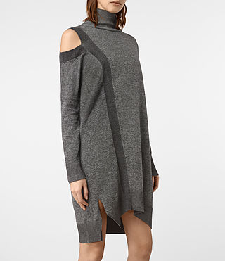 Mujer Cecily Twist Dress (Black/Grey Marl) - product_image_alt_text_3