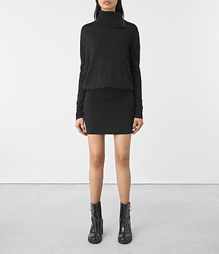 Womens Astrid Dress (Cinder Black)
