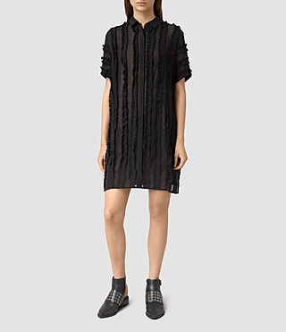 Mujer Emrys Ruffle Shirt Dress (Black) - product_image_alt_text_1