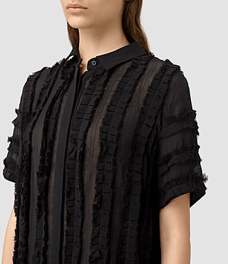 Mujer Emrys Ruffle Shirt Dress (Black) - product_image_alt_text_2