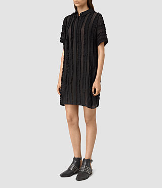 Mujer Emrys Ruffle Shirt Dress (Black) - product_image_alt_text_3