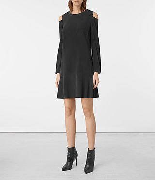 Womens Faro Silk Dress (Black)