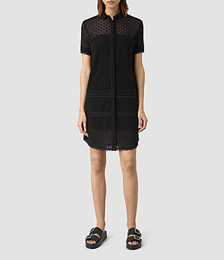Mujer Elsa Broderie Shirt Dress (Black)