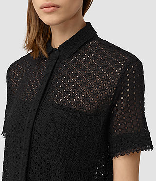Mujer Elsa Short Sleeve Dress (Black) - product_image_alt_text_2