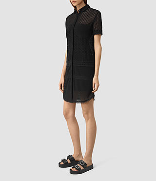 Damen Elsa Short Sleeve Dress (Black) - product_image_alt_text_3