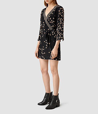 Women's Alva Fraise Silk Dress (Black) - product_image_alt_text_4