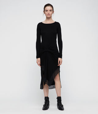 Womens Riviera Miro Long Sleeve Dress (Black) - product_image_alt_text_1