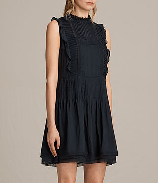 Womens Evelina Ruffle Dress (Black) - product_image_alt_text_5