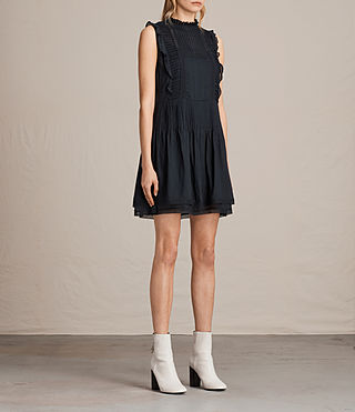 Womens Evelina Ruffle Dress (Black) - product_image_alt_text_6