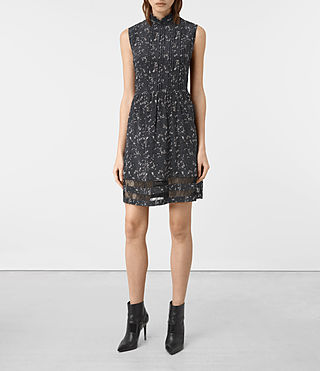 Damen Lolita Blume Silk Dress (Grey)