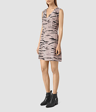 Women's Ille Tye Silk Dress (Pink/Black)