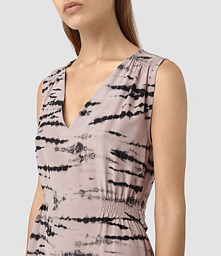 Women's Ille Tye Silk Dress (Pink/Black) - product_image_alt_text_2