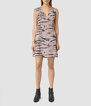 Women's Ille Tye Silk Dress (Pink/Black) - product_image_alt_text_3