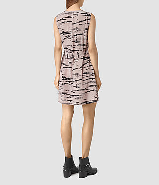 Women's Ille Tye Silk Dress (Pink/Black) - product_image_alt_text_4