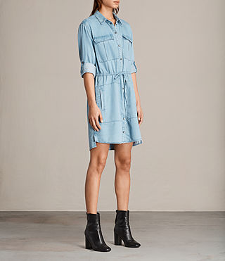 Women's Millie Shirt Dress (Indigo Blue) - product_image_alt_text_3
