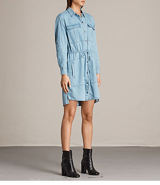 Women's Millie Shirt Dress (Indigo Blue) - product_image_alt_text_5