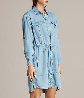 Women's Millie Shirt Dress (Indigo Blue) - product_image_alt_text_6