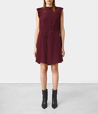 Womens Sora Sleeveless Silk Dress (Maroon)