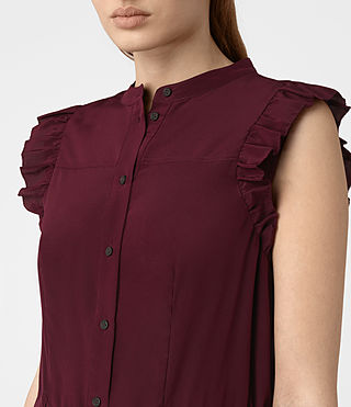 Women's Sora Sleeveless Silk Dress (Maroon) - product_image_alt_text_2