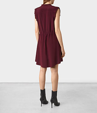 Women's Sora Sleeveless Silk Dress (Maroon) - product_image_alt_text_4