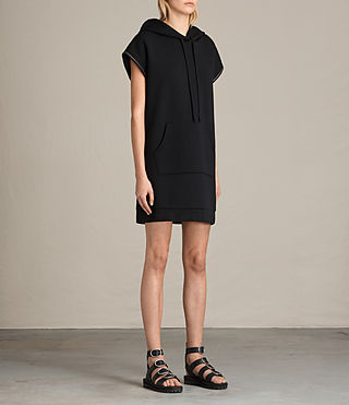 Women's Mod Sweat Dress (Black) - product_image_alt_text_6