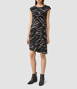 Womens Breeze Tye Silk Dress (BLACK/PINK)