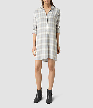 Damen Marlon Check Dress (Light Blue Check)