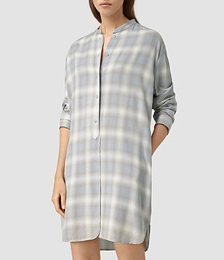 Womens Marlon Check Dress (Light Blue Check) - product_image_alt_text_3
