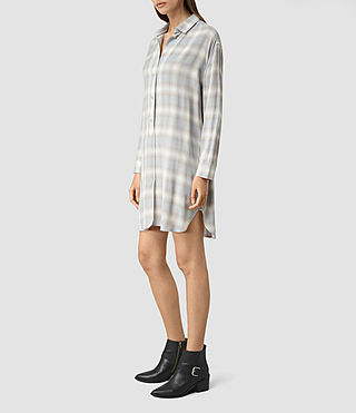Womens Marlon Check Dress (Light Blue Check) - product_image_alt_text_4