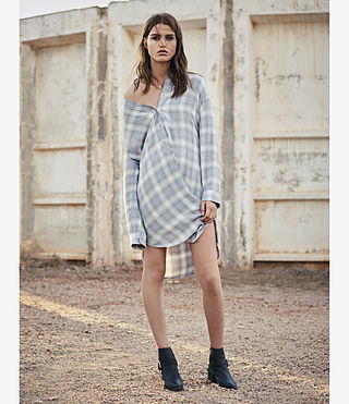 Womens Marlon Check Dress (Light Blue Check) - product_image_alt_text_6