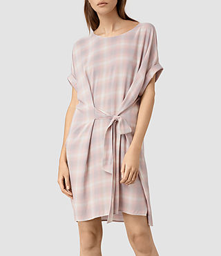 Womens Sonny Check Dress (Pink Check) - product_image_alt_text_3