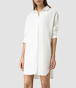 Mujer Marlon Shirt Dress (Chalk White)