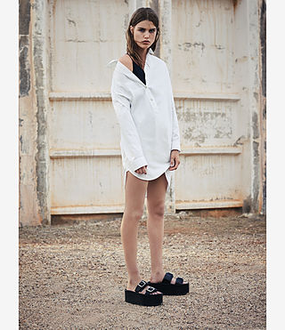 Women's Marlon Shirt Dress (Chalk White) - product_image_alt_text_6