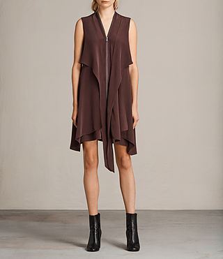 Womens Jayda Silk Dress (Damson) - Image 4