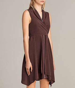 Womens Jayda Silk Dress (Damson) - Image 5