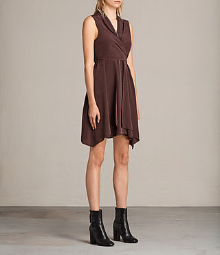 Womens Jayda Silk Dress (Damson) - Image 7