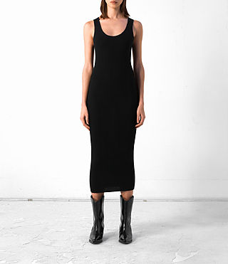Donne Rev Cashmere Vest Dress (Black) -