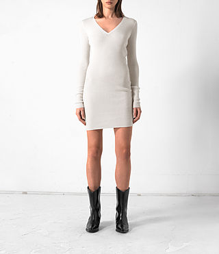 Damen Rev Cashmere Dress (CREAM WHITE)