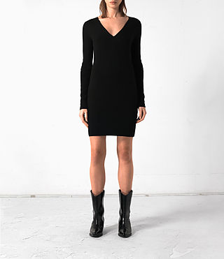 Donne Abito Rev in cashmere (Black)