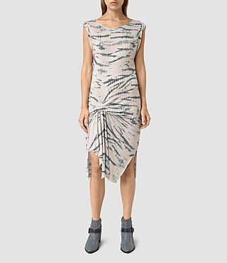 Womens Erin Tye Dress (STONE GREY/BLUE)