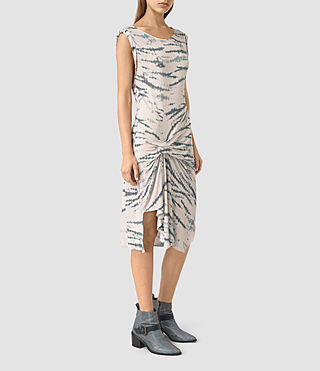 Women's Erin Tye Dress (STONE GREY/BLUE) - product_image_alt_text_3